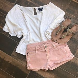 Zara Pink Distressed Shorts